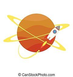 katapultszerkezet, ikon, elindít, bolygó, rakéta, feláll, mindenfelé