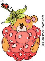 katicabogár, kevés, teddy-mackó, belső, hord, málna, piros