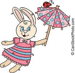 katicabogár, repülés, furcsa, kicsi, esernyő, nyuszi, birtok, csinos