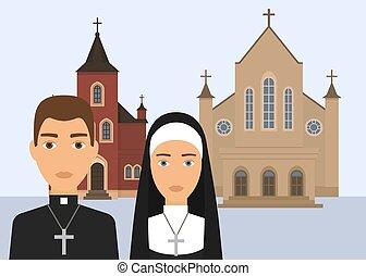 katolikus, keresztény, illustration., háttér., székesegyház, betű, lelkipásztor, elszigetelt, apáca, vallás, vektor, templom áthalad, fehér, vagy, catholisism