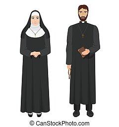 katolikus, nun., lelkész, illustration., gyakorlatias, vektor