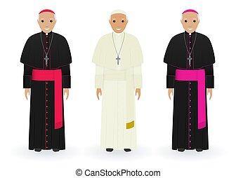 katolikus, priests., vallás, jellemvonás, emberek., elszigetelt, pápa, háttér., sarkalatos, white futó, öltözék