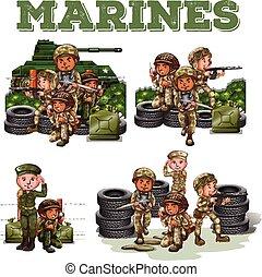 katona, fegyverek, küzdelem
