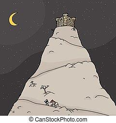 katona, hegy, utazó, éjszaka