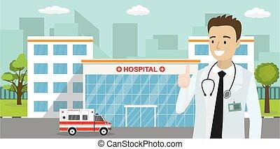 kaukázusi, épület, vagy, hím, autó, orvos, mentőautó, klinika