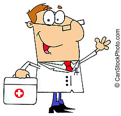kaukázusi, karikatúra, orvos, ember