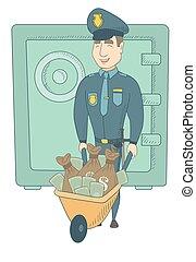 kaukázusi, pénz., fiatal, confiscated, rendőr