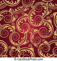 kavarog, arany, &, motívum, seamless, piros