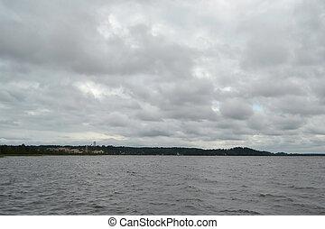 kavgolovo, tó, cloudy nap