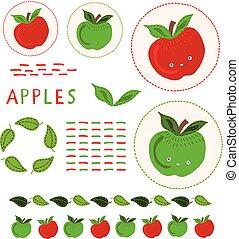 kawaii, csinos, alma, clipart, set., ábra, kéz, vektor, dotty, húzott, egész alma