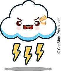 kawaii, csinos, lakás, betű, arc, vektor, tervezés, csavar, villámlás, karikatúra, felhő, ikon