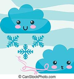 kawaii, elhomályosul, tél, karikatúra, felteker, hópihe