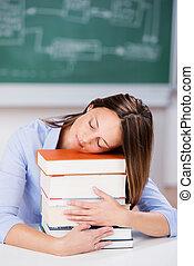 kazal, előjegyez, alvás, tanár asztal