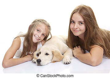 kedvenc, gyerekek, kutya, család