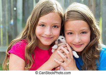 , kedvenc, kutya, ikergyermek, lánytestvér, kutyus, játék