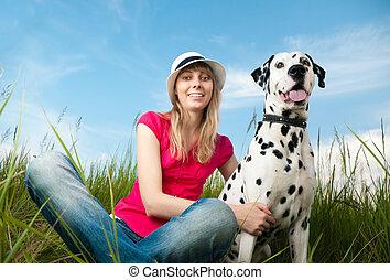 kedvenc, nő, fiatal, neki, kutya