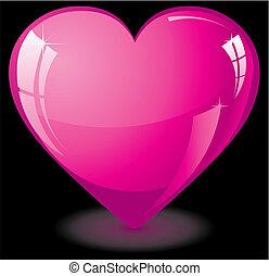 kedves, szív, rózsaszínű, pohár