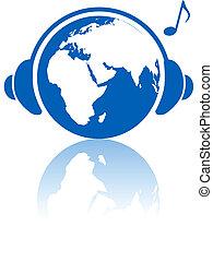keleti, fejhallgató, bolygó, félgömb, zene, földdel feltölt, világ