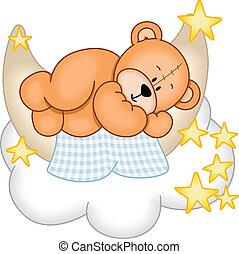 kellemes, álmodik, hord, teddy-mackó