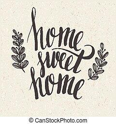 kellemes, felirat, otthon