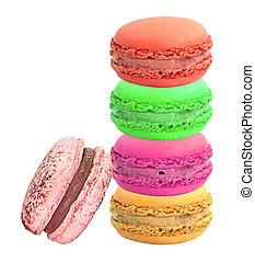 kellemes, francia, macaroons, finomság