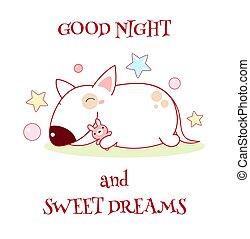 kellemes, jó, éjszaka, álmodik