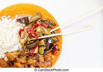kellemes, növényi, fanyar, ázsiai, csirke, rizs, teriyaki, szósz