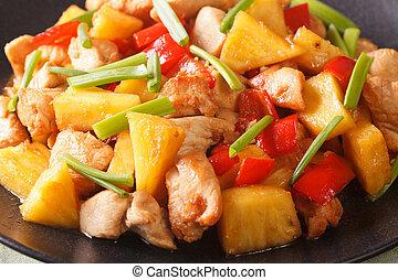 kellemes, növényi, macro., fanyar, mell, ananász, csirke, szósz, horizontális