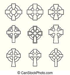 kelta, állhatatos, collection., kereszt, aláír, keresztbe tesz, skót, design., vallásos, ír