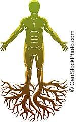 kelta, elkészített, atlétikai, isten, concept., fa, vektor, roots., ősi, ember