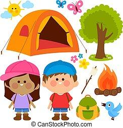 kempingezés, ábra, állhatatos, gyerekek, boldog, vektor, házhely.