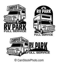 kempingező furgon, szórakozási, vontatott lakókocsi, rv, autók, jármű