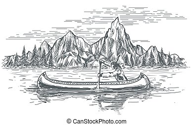 kenu, bennszülött, csónakázik, amerikai