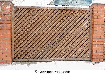 kerítés, átló, straps., feláll, rész, rendes, becsuk