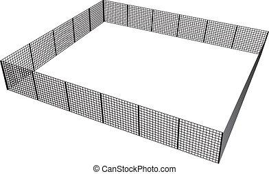 kerítés, derékszögű