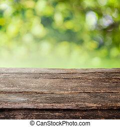 kerítés, fából való, ország, tető, vagy, falusias, asztal, palánk