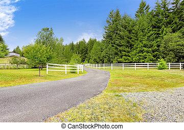 kerítés, tanya, washington, olümpia, állam, kocsifelhajtó, fából való