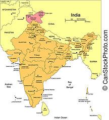 kerületek, india, adminisztratív, körülvevő, országok