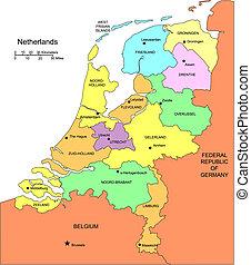 kerületek, körülvevő, németalföld, adminisztratív, országok
