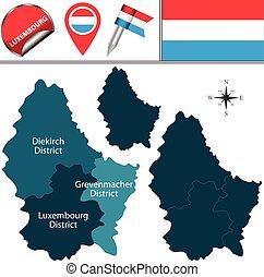 kerületek, térkép, luxemburg