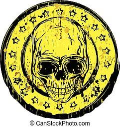 kerek, koponya, bélyeg