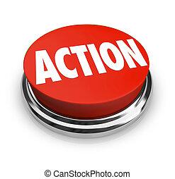 kerek, lenni, akció, szó, piros, proactive, gombol