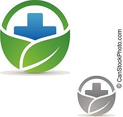 kerek, levél növényen, jelkép, kereszt, orvosi health, alakú