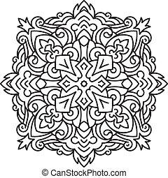 kerek, vagy, elem, zentangle, mandala, style., dekoratív, -, befűz, vektor, tervezés, virág, asszimetrikus, stilizált, tattoo.