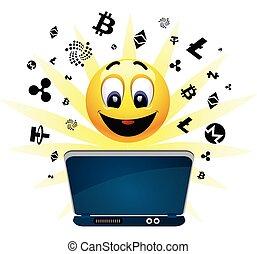 keresés, pénz., labda, pozitív, mosolygós