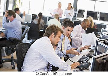 kereskedő, elfoglalt, részvény, hivatal, kilátás
