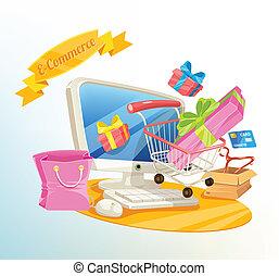 kereskedelem, kelet, vektor, bevásárlás