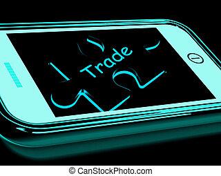 kereskedelem, smartphone, ügy, erőforrások, kereskedelem, internet