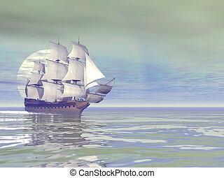 kereskedelmi, -, öreg, hajó, 3, render