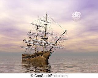 kereskedelmi, öreg, render, -, hajó, 3